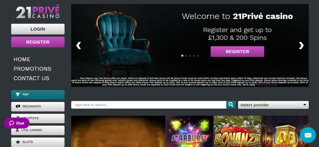21Prive Casino - uvítací balíček