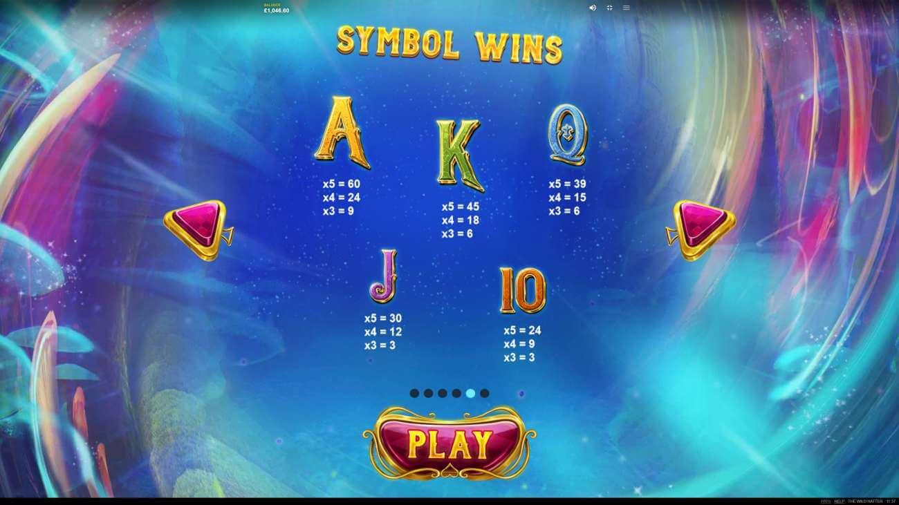 Symboly v herním automat The Wild Hatter