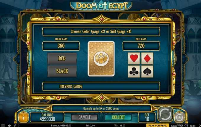 gambling možnost v casino hře Doom of Egypt