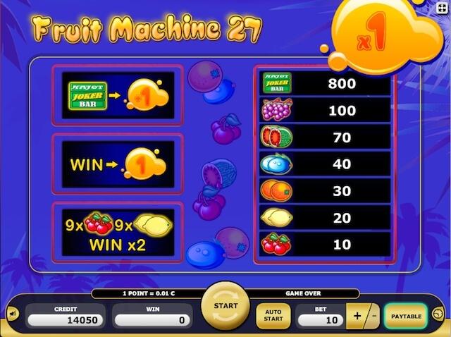 Casino zdarma hra Fruit Machine 27 od Kajot vývojáře