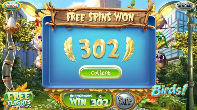 Výhra ze free spinů ve hře Birds