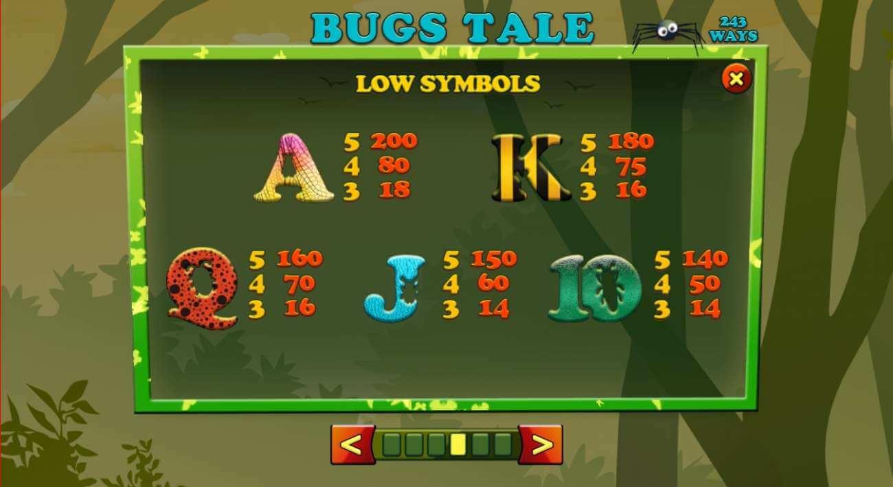 Symboly v herním automat Bugs Tale