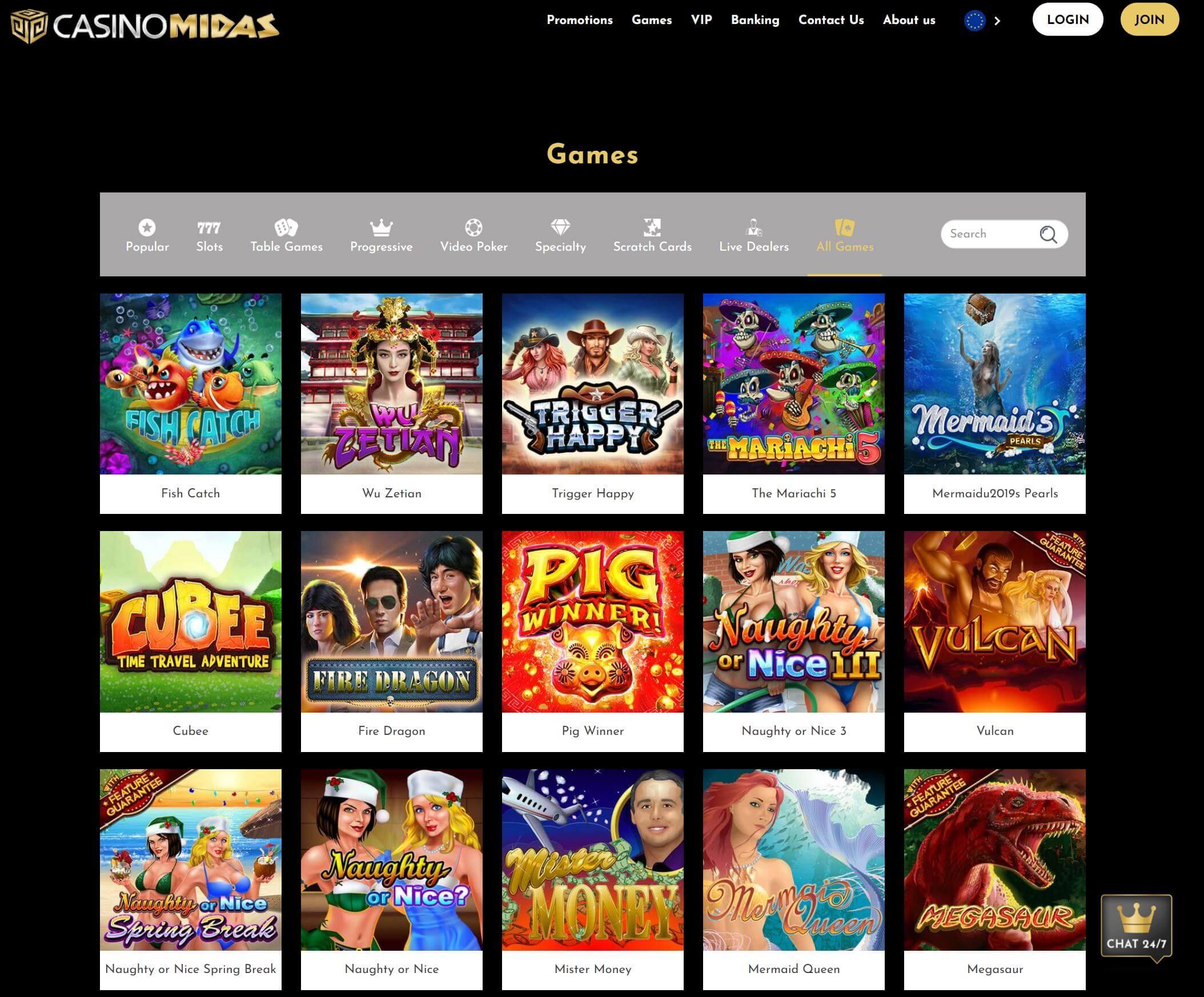 Casino automaty v CasinoMidas