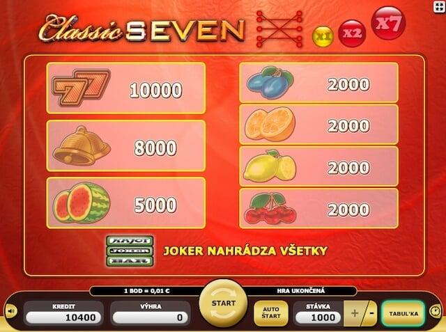 Automaty zdarma Classic Seven