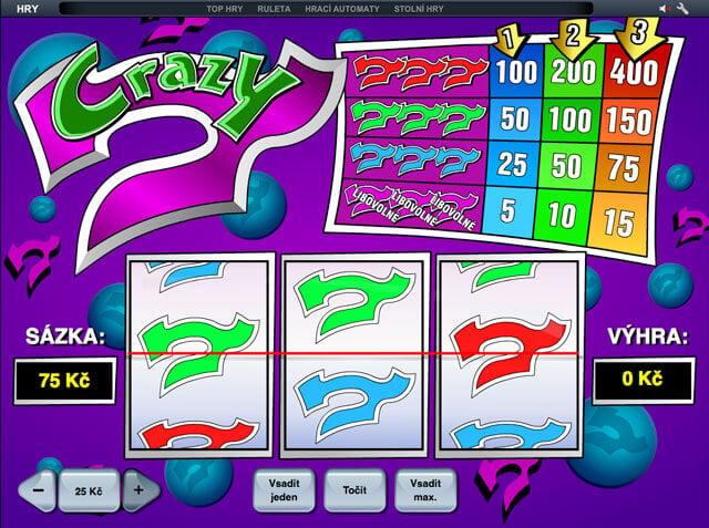 Automat zdarma Crazy 7 bez nutnosti vkladu a omezení