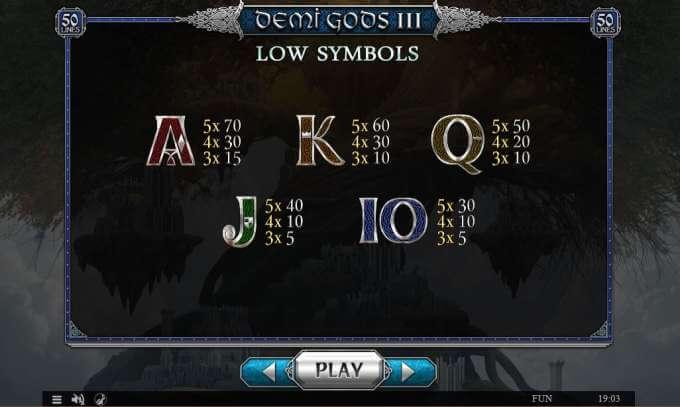 Symboly v herním automat Demi Gods 3