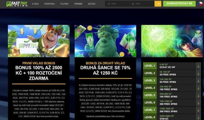 Fastpay online casino bonusy