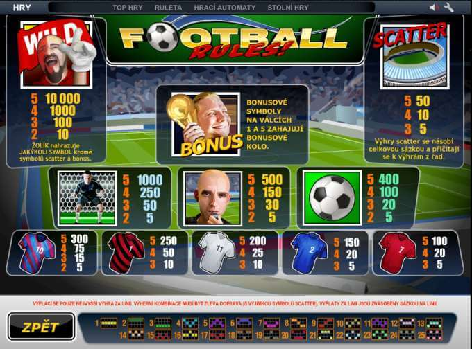 Casino bonus ve hře Football Rules