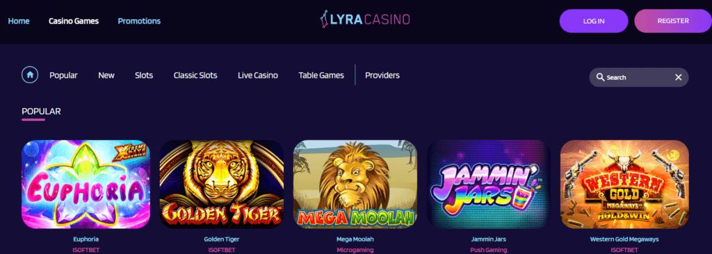 LyraCasino - Hry, které si v casinu můžete zahrát
