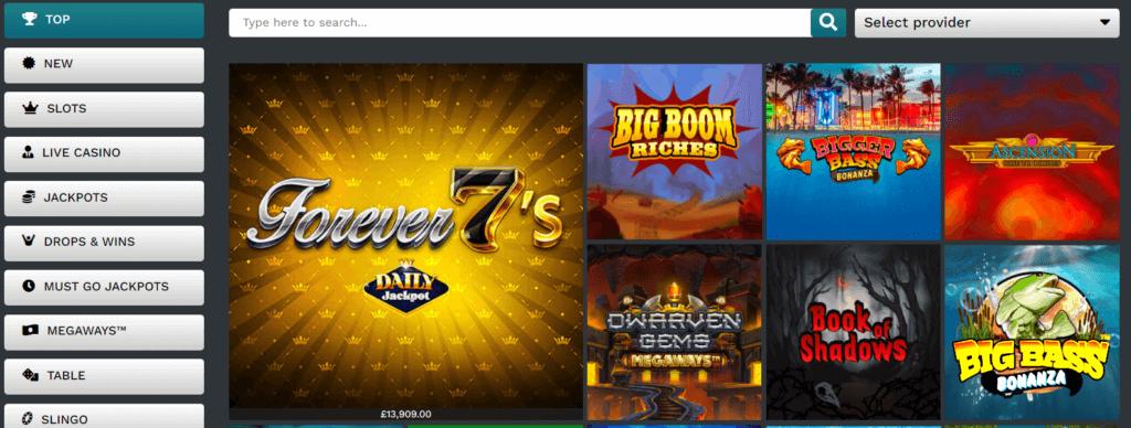 Výběr her 21Privé casino