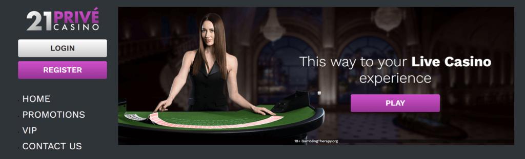 21Privé casino stránka live casino