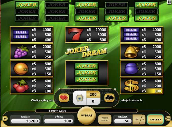 Více informací o automatu Joker Dream