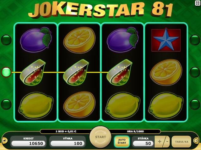 Výherní symboly v online automatu Joker Star 81