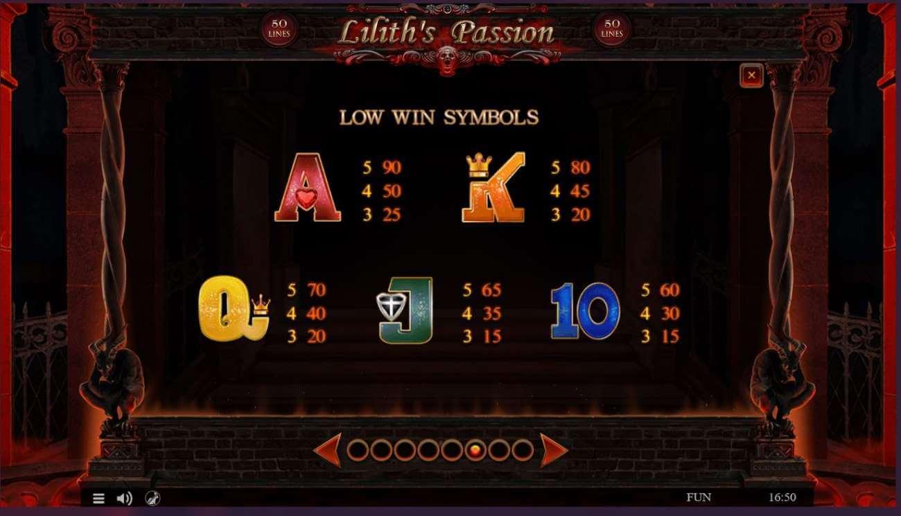 Symboly v herním automat Liliths passion