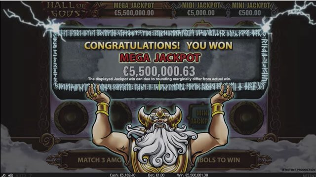 Mega Jackpot ve hře Hall of Gods