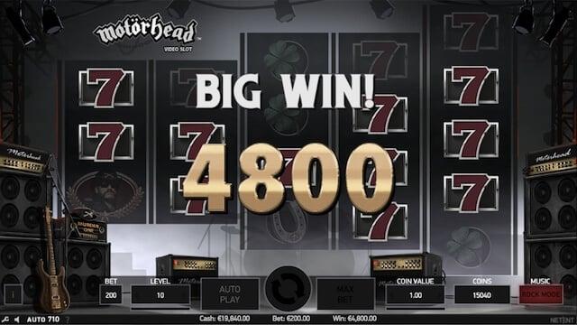 Výherní automat Motorhead, velká výhra