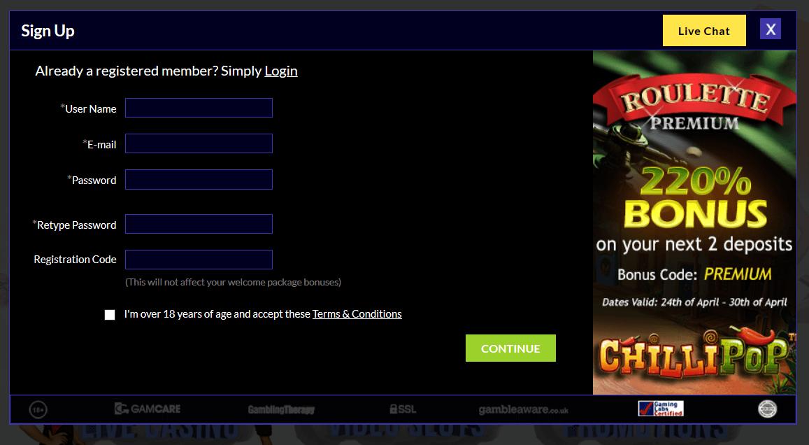 Registrace v online casinu TS casino