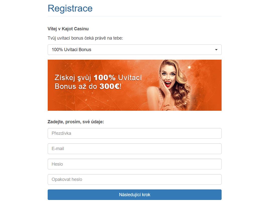Registrace v online casinu Kajot