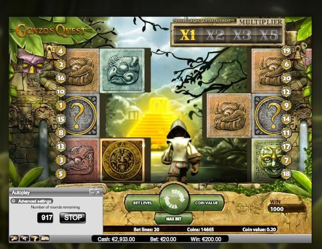 Výherní automat Gonzo's Quest s mnoha bonusy bez nutnosti vkladu