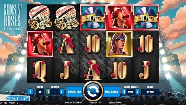 Základní vzhled herního automatu Guns N' Roses