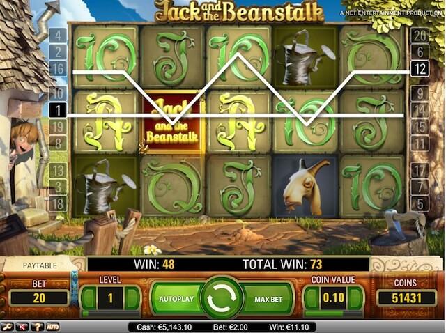 Wild bonus můžete najít ve hře Jack and Beanstalk!