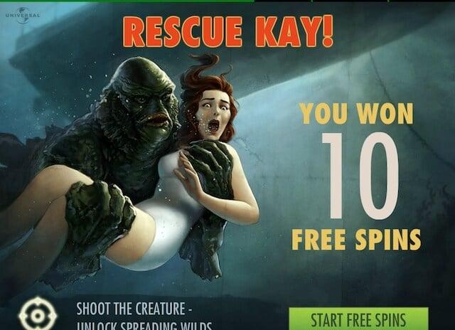 Casino hry zdarma v podobě free spinů v Creature from the Black Lagoon