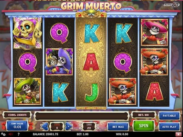 Herní automat Grim Muerto, který je vytvořený herním vývojářem Play'n GO