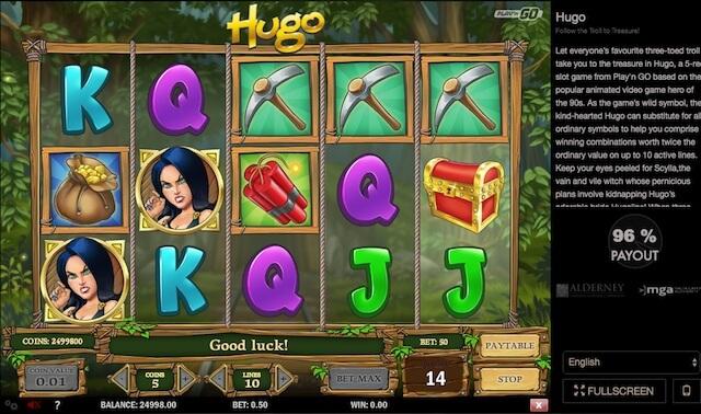 Hrací automat Hudo s 5 válci, 3 řady a 10 výherními kombinacemi