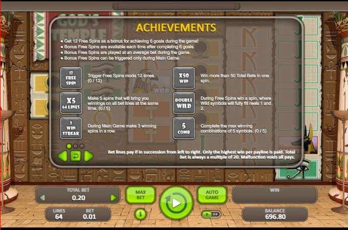 Herní automat God's Temple zdarma