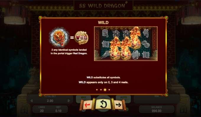 Jedinečná herní grafika automatu 88 Wild Dragon