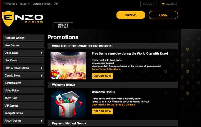 Casino Enzo uvodní stránka