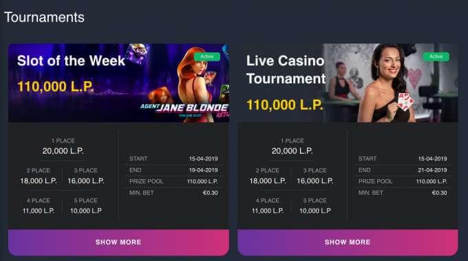 Casino turnaje v hazardní online casinu pro rok 2019 Buran