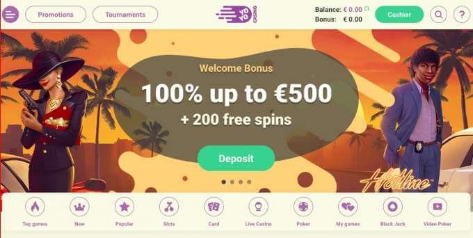 Yoyo casino s uvítacím 100% bonusem do hodnoty až €500 + 200 otočení zdarma