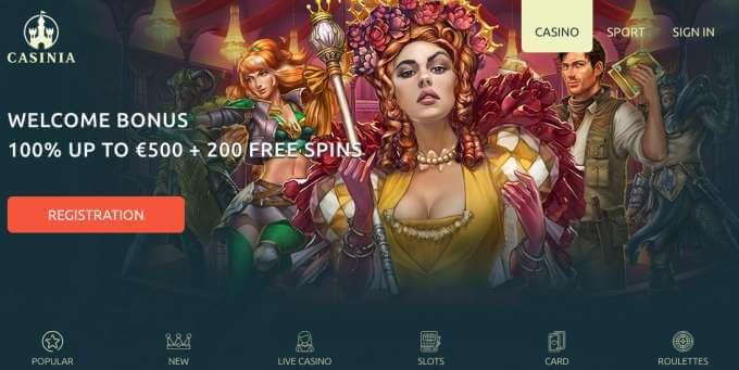 Uvítací bonusy v casinu Casinia