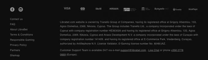 Informace o online casinu pro české hráče 2019 - LibraBet