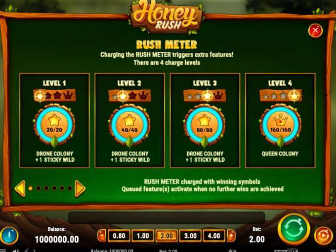 Další informace o bonusech a výherních kombinacích v casino hře Honey Rush