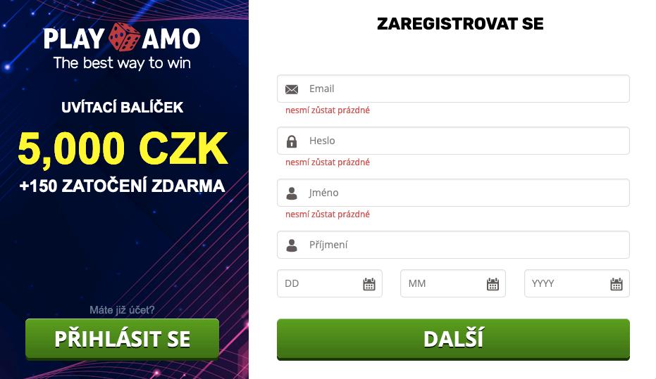 Registrace v online casinu PlayAmo