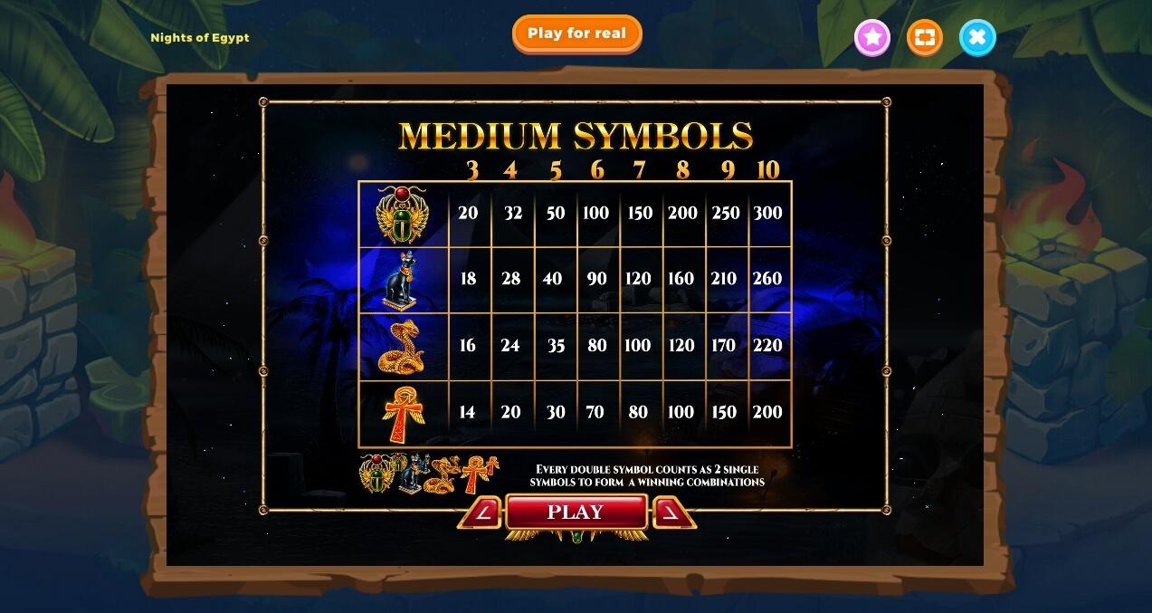 Symboly v herním automat Nights of Egypt