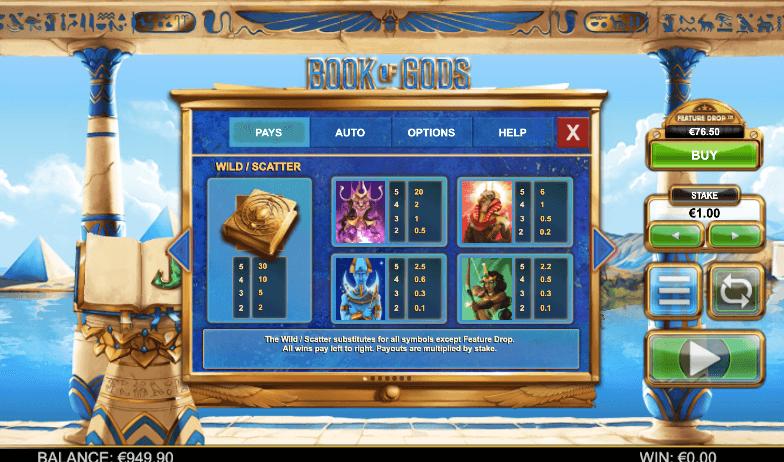 Symboly v herním automat The Book of gods