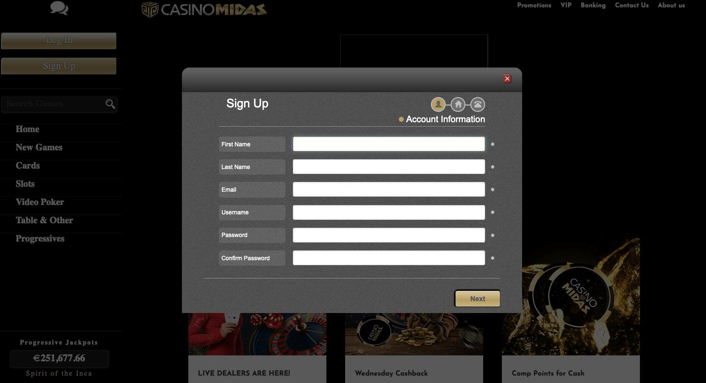 Registrace v online CasinoMidas zdarma