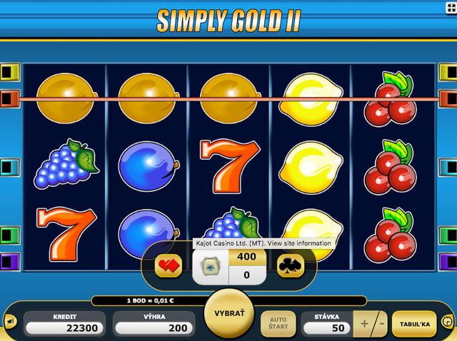 Simply Gold 2 herní automat zdarma