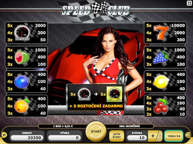 Tabulka v automatu Speed Club