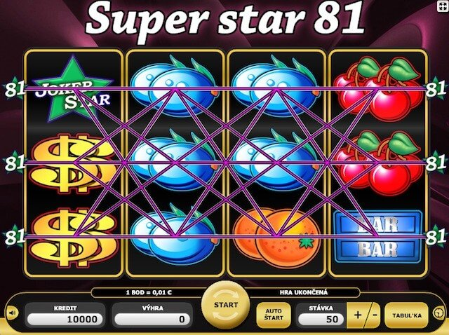 Zahraj si hrací automat zdarma Super Star 81