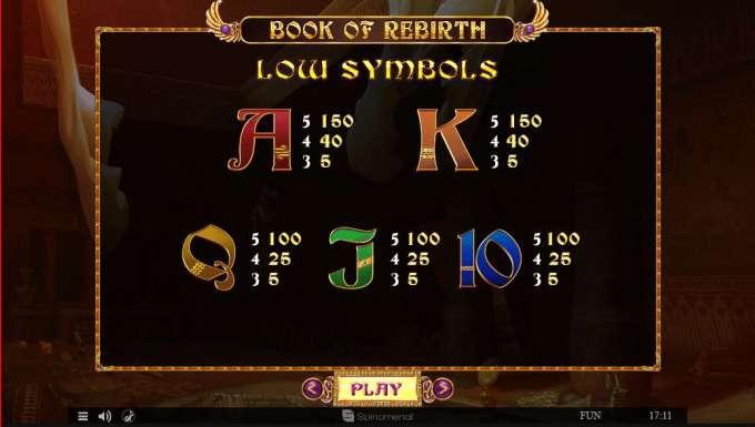 Symboly v herním automat Book Of Rebirth