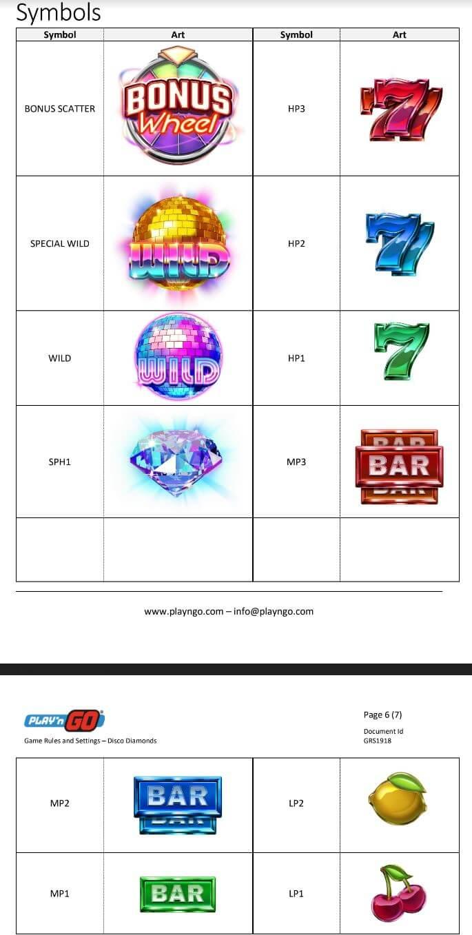 Symboly v herním automat Disco Diamonds