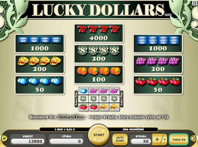 Zobrazení herních symbolů automatu Lucky Dollars