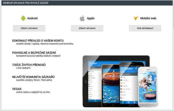 Mobilní aplikace ke stažení v casinu Tipsport