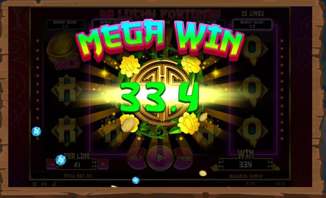 88 Lucky Fortunes - velká výhra